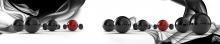 Интерьерная панель АБС  Чёрные и красные шары